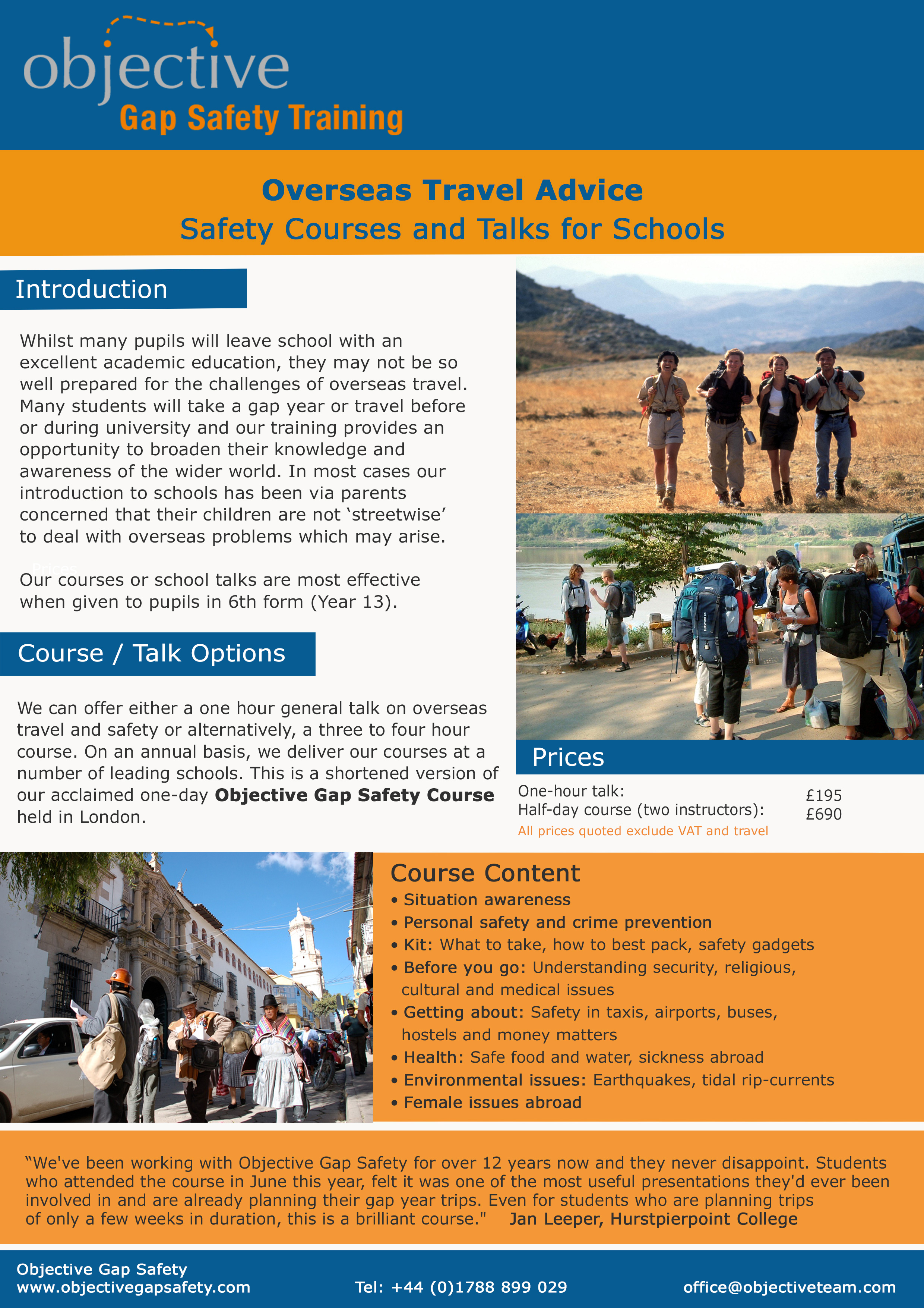 School Safety Courses   Student Travel Advice   Foreign